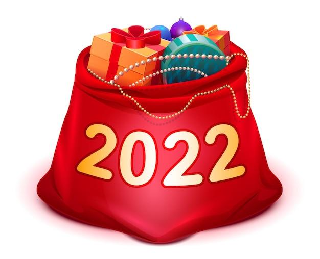 Natal e ano novo de 2022 abrem um saco vermelho cheio de presentes do papai noel
