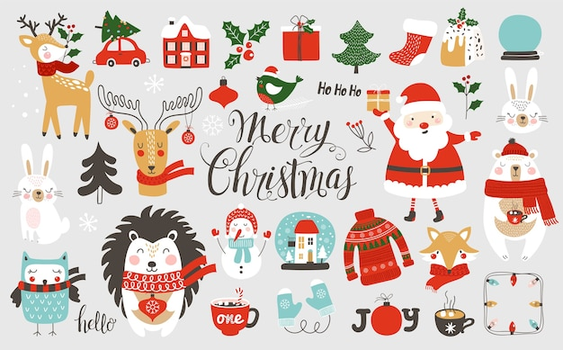 Natal e ano novo e com animais fofos.