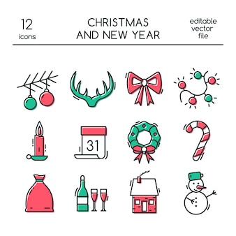 Natal e ano novo ícones no estilo de linha.