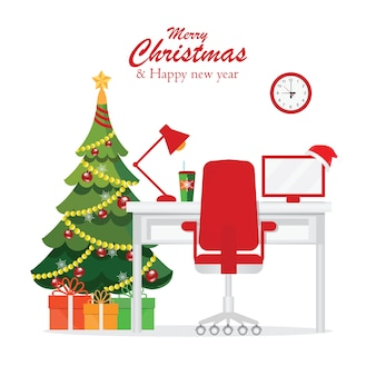 Natal e ano novo no interior do local de trabalho de escritório moderno.