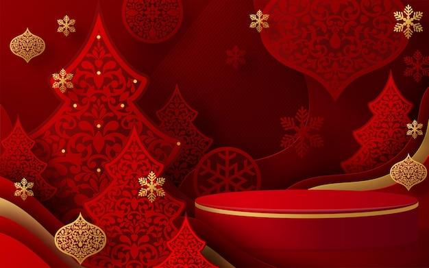 Natal e ano novo pódio fundo vector design produtos 3d Vetor Premium