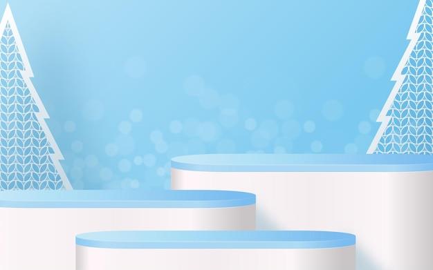 Natal e ano novo pódio fundo vetor desenha produtos 3d ou mostra a exposição de produtos cosméticos. pedestal de palco ou plataforma. fundo vermelho do natal do inverno.