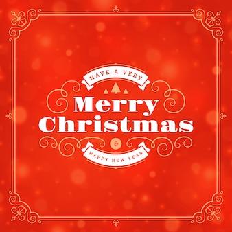 Natal e ano novo rótulo e tipografia retrô