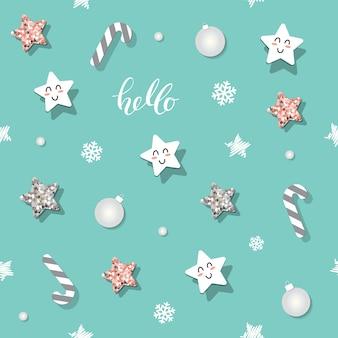 Natal e ano novo sem costura padrão com estrelas de brilho.