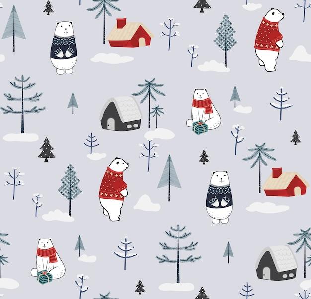 Natal e ano novo sem costura padrão