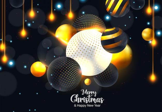 Natal e ano novo tipográficos em fundo brilhante de natal