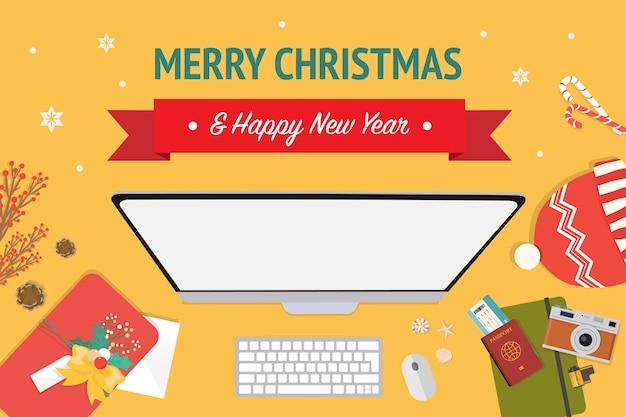 Natal e feliz ano novo banner