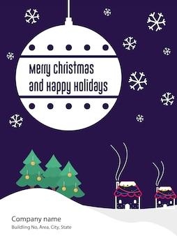 Natal e feliz ano novo flyer convite cartão