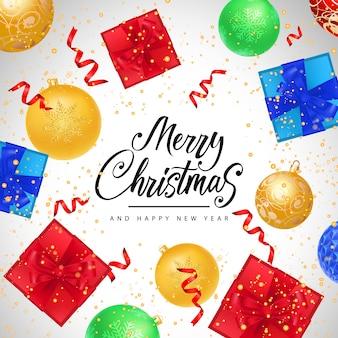 Natal e feliz ano novo inscrição