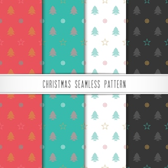 Natal e feliz ano novo padrão definido. padrão de férias de inverno com floco de neve, estrela e árvore.