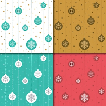 Natal e feliz ano novo padrão definido. padrão de férias de inverno com floco de neve.