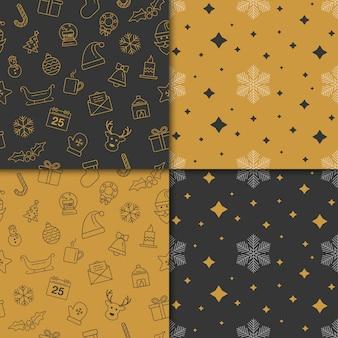 Natal e feliz ano novo padrão definido. padrão de férias de inverno com ouro e cor preta.