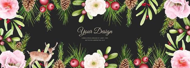 Natal elegante com flores e folhas de fundo