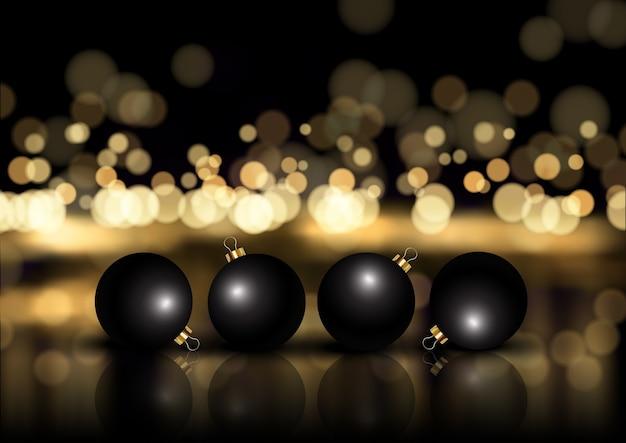 Natal elegante em ouro e preto com enfeites