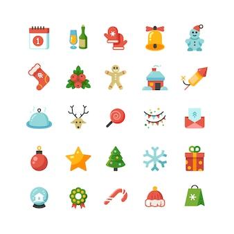 Natal engraçado e ano novo feriado dos desenhos animados ícones do vetor plana
