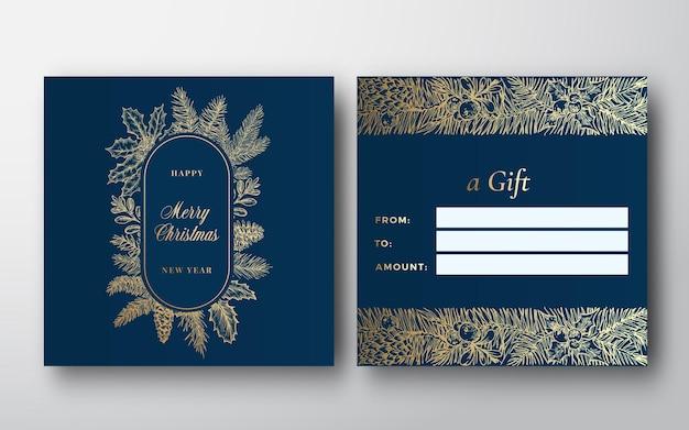 Natal esboço abstrato decoração vetor saudação cartão presente fundo verso e frente design layo ...
