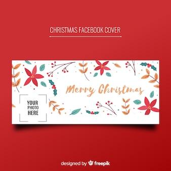 Natal, facebook, cobertura, mão, desenhado, flores