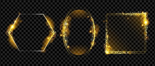 Natal feriado moldura dourada vetor luz mágica borda definida amarelo brilhante retângulo glitter oval