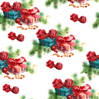 Natal feriados ano novo árvore de natal brinquedos presentes aquarela crianças fofos desenhados à mão