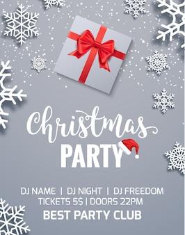Natal festa cartaz convite decoração caixa de presente. fundo de modelo de férias de natal com flocos de neve.