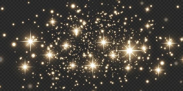 Natal festivo fundo luz confete e pequenas luzes brilhantes de ouro. textura de ouro brilhante.