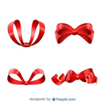 Natal fitas vermelhas definidas