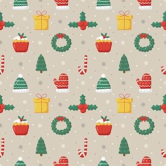 Natal fofo doodle padrão sem emenda em fundo cinza