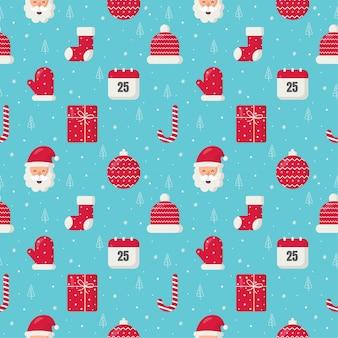 Natal fofo doodle padrão sem emenda no fundo azul