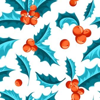 Natal holly berry padrão sem emenda.