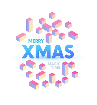 Natal holográfico ilustrado com gradientes mais claros. modelo de cartaz plano isométrico a4 ano novo.