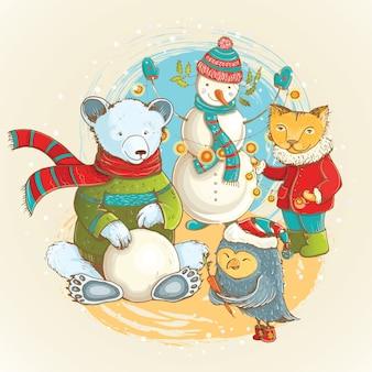 Natal ilustração dos desenhos animados de esculpir de boneco de neve no inverno com animais engraçados. Vetor Premium