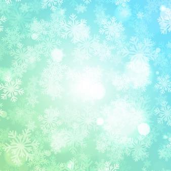 Natal inverno fundo mágica neve brilha luzes e flocos de neve com espaço em branco da cópia