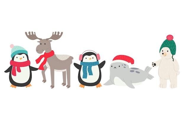 Natal, inverno, norte, animal, pinguim, cervo, urso, foca, ano novo, chapéu e, cachecol, desenho fofo