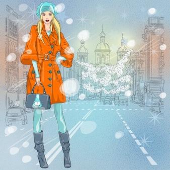 Natal inverno paisagem urbana, linda garota na moda na avenida larga com vista para a igreja em são petersburgo, rússia