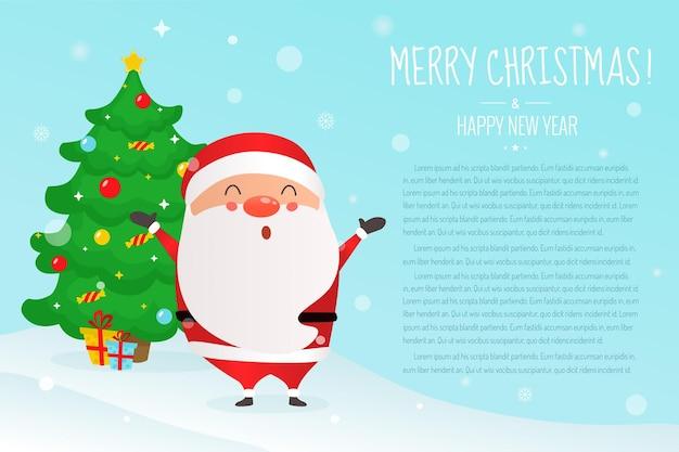 Natal. lindo papai noel e árvore de natal.