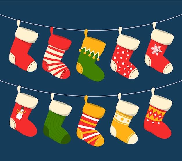 Natal meia pendurada
