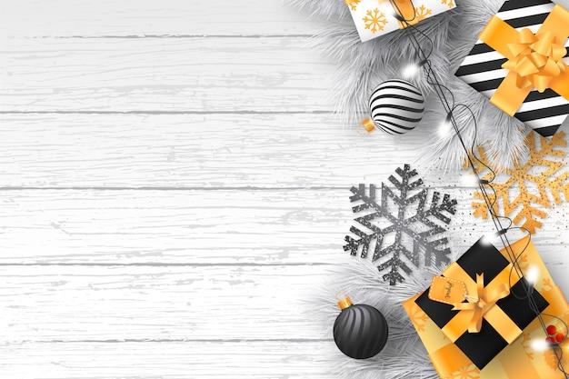 Natal moderno com ornamentos elegantes