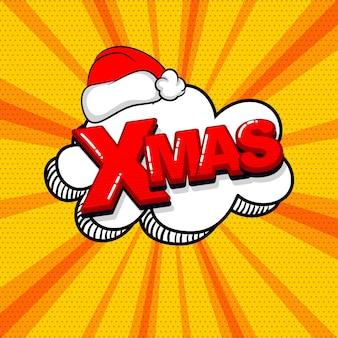 Natal natal com chapéu vermelho em quadrinhos texto efeitos sonoros estilo pop art palavra de bolha do discurso de vetor