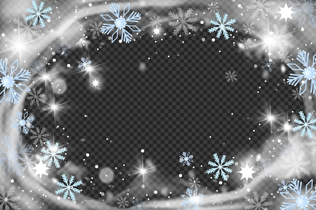 Natal neve vento círculo quadro vetor inverno nevasca fundo cristal geada borda floco de neve