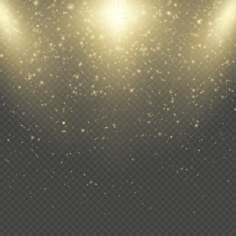 Natal ou ano novo brilha brilha chuva. efeito de brilho abstrato ouro brilho espaço nebulosa. camada de sobreposição de pó dourado. confetes cintilantes, luzes pontilhadas.