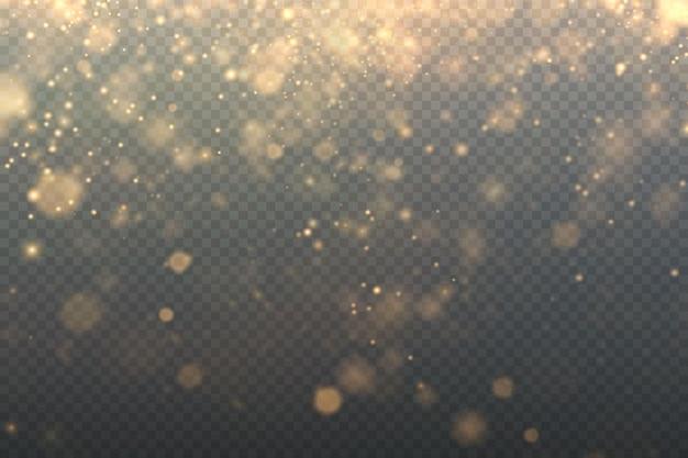 Natal ouro pó cintilante ouro estrelas cintilantes em um fundo transparente textura cintilante