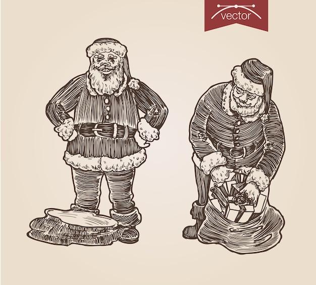 Natal papai noel com gravura desenhada à mão
