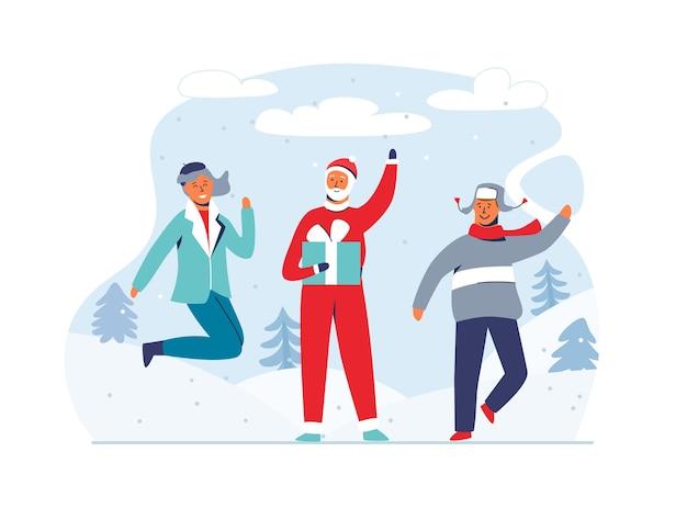 Natal papai noel com pessoas felizes em fundo nevado. personagens bonitos das férias de inverno plana. cartão de feliz ano novo com papai noel e presentes.