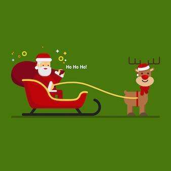 Natal, papai noel, em, um, sleigh, com, rena