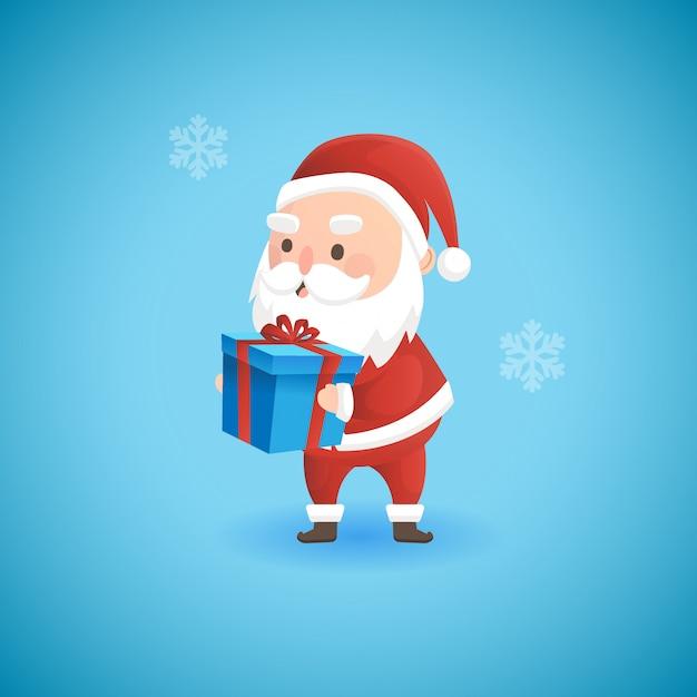 Natal papai noel engraçado segurando a caixa de presente, ilustração vetorial.