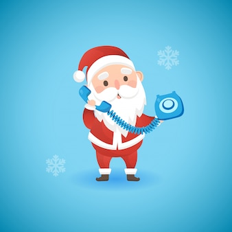 Natal papai noel engraçado segurando o telefone antigo azul, ilustração vetorial.