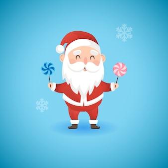 Natal papai noel engraçado segurando pirulitos, ilustração vetorial.