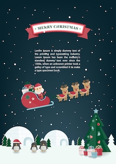 Natal plana papai noel, trenó de renas na vila de inverno. cartão de natal