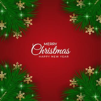 Natal realista folha verde natal fundo vermelho
