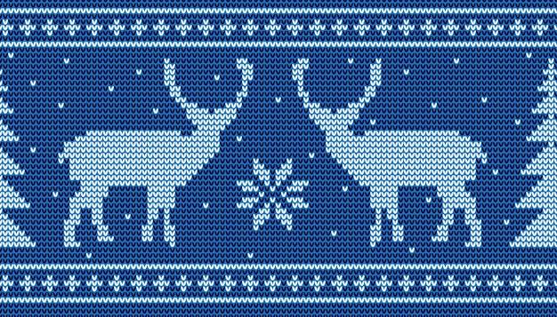 Natal sem costura de fundo com veado e pinheiro